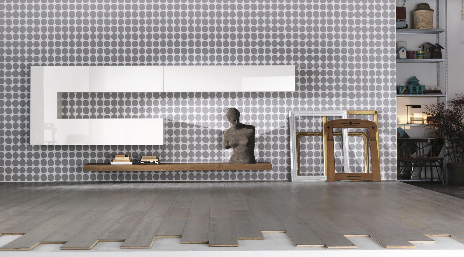 Contenitori a parete bianchi con ripiano in legno massello for Lago store genova